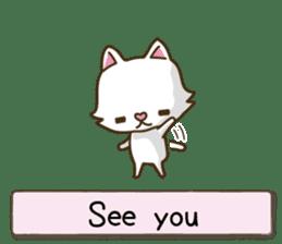 White cat sticker -English- sticker #939133
