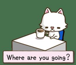 White cat sticker -English- sticker #939139