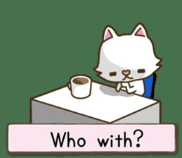 White cat sticker -English- sticker #939140