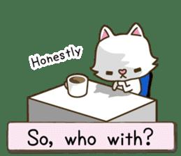 White cat sticker -English- sticker #939141