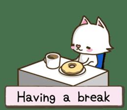 White cat sticker -English- sticker #939150