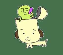 Dog in need alien is settled in head sticker #949488
