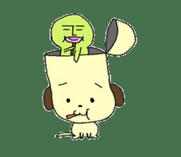 Dog in need alien is settled in head sticker #949503