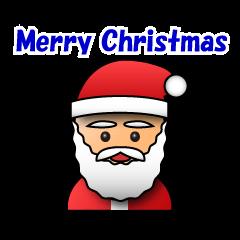 สติ๊กเกอร์ไลน์ 3D Santa Claus wish a Merry Christmas.