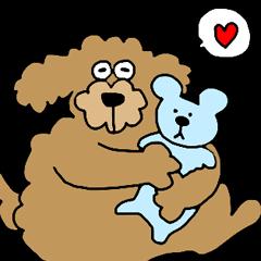 Funny poodle like a human.