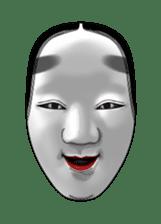 A Noh mask days Koomote and Hannya sticker #1011207