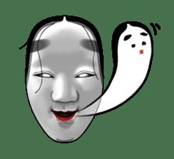 A Noh mask days Koomote and Hannya sticker #1011211
