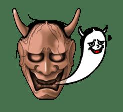 A Noh mask days Koomote and Hannya sticker #1011227