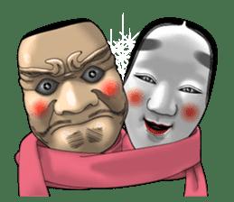 A Noh mask days Koomote and Hannya sticker #1011246