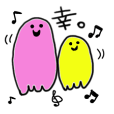 Rainbow-colored ghost sticker #1018153