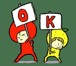 apple and orange English version sticker #1044629