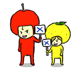 apple and orange English version sticker #1044637