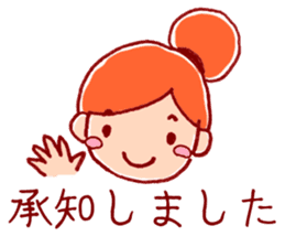 Honorific girl with a bun hairstyle sticker #1044693