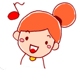 Honorific girl with a bun hairstyle sticker #1044708