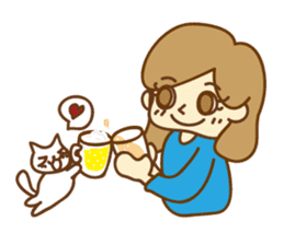 Fun life of women and cats sticker #1060632