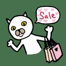 Muhu white cat sticker #1101639