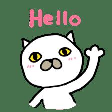 Muhu white cat sticker #1101648