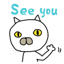 Muhu white cat sticker #1101649