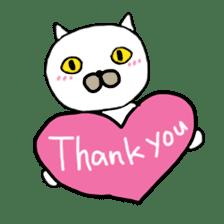 Muhu white cat sticker #1101655