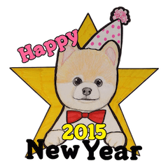 Happy New Year Pomeranian Sticker