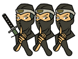 Ninja and female ninja and town girl. sticker #1126640