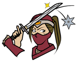 Ninja and female ninja and town girl. sticker #1126661