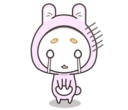 hood cat and rabbit sticker #1131454