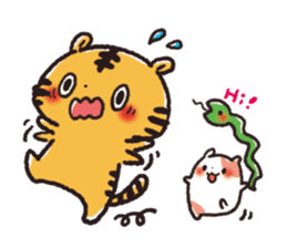 Cute Friends! Hamster and Tiger sticker #1182149