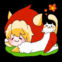 สติ๊กเกอร์ไลน์ Cat Little Red Riding Hood