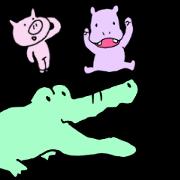 สติ๊กเกอร์ไลน์ Alligator, Pig & Hippopotamus