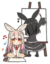 Rainbow & Monochrome Rabbit sticker #1196468