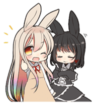 Rainbow & Monochrome Rabbit sticker #1196471