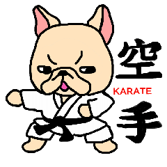 French Bulldog stickers KARATE ver.