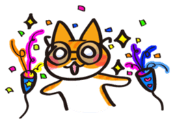 Glasses cat Tora sticker #1248260