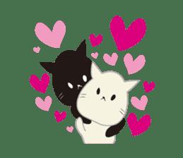 Black cat and white cat sticker #1255223