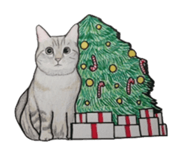 Merry Christmas Cat sticker sticker #1286938