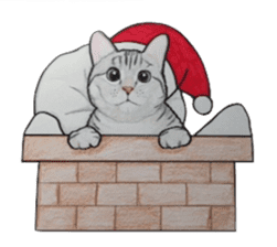 Merry Christmas Cat sticker sticker #1286940