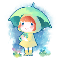Cute girl wearing raincoat