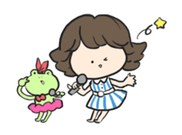 Frog and girl sticker #1363160