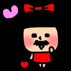 Mustache girl Sticker