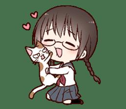 Schoolgirl with glasses sticker #1413345