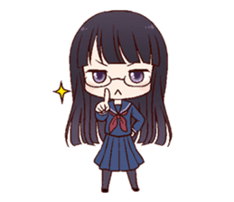 Schoolgirl with glasses sticker #1413356