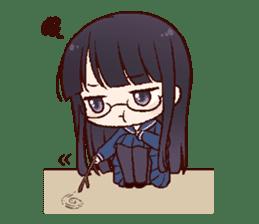 Schoolgirl with glasses sticker #1413359