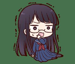 Schoolgirl with glasses sticker #1413360