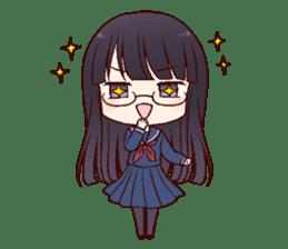 Schoolgirl with glasses sticker #1413362