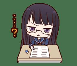 Schoolgirl with glasses sticker #1413363