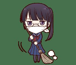 Schoolgirl with glasses sticker #1413366
