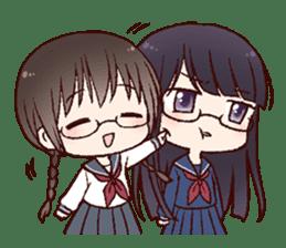Schoolgirl with glasses sticker #1413369