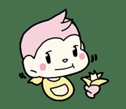 cute pink monkey sticker #1418497