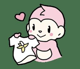 cute pink monkey sticker #1418522